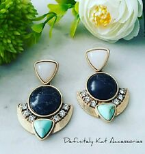 Bold black, turquoise & gold stone modern dangling cocktail statement earrings