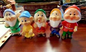 Walt Disney Snow White 5 SEVEN DWARFS VINYL SQUEAKY FIGURES Free Shipping