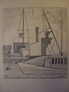 Vintage Rare Robert Treat abstract Bonds Dock/ Boats sketch.
