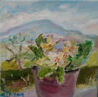 ORIGINAL SIGNED Impressionism Primula, Penhill. OIL PAINTING Yorkshire DALES