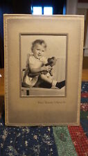 Vintage Antique Photo Child Holding Antique Teddy Bear Studio Portrait