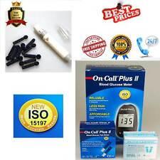 On Call Plus II BLOOD SUGAR MONITOR METER + 50 strips, lancets and lancer