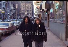Vintage 1970s Slide Photo Philadelphia Hippie Guys On Sidewalk Busy Street Scene