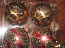 Christmas Shoppe Gold Red Glitter Leopard  New  Glass ball Set 4  Ornaments