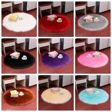 Indoor Soft Fluffy Plush Rug Faux Fur Soft Mat Round Carpet Cushion Foot Pad