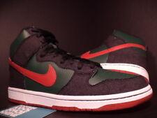 2009 Nike Dunk High Premium SB RESN DENIM FOREST GREEN PAPRIKA RED 313171-362 10