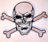 NEW JUMBO SKULL AND CROSS BONES JACKET BACK PATCH embroidered biker JBP2 skulls