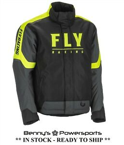Fly Racing Men's Outpost Jacket Hi-Vis Black Snowmobile Windproof Insulated