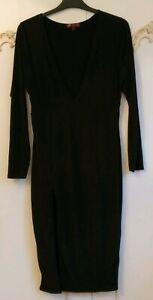 Missi London Black Slinky Stretch Bodycon V Plunge Midi Dress Size UK 14 NWOT