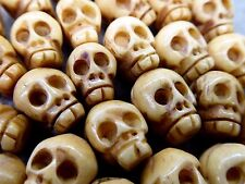 "Skull Bead Tibetan Style Carved Antiqued Water Buffalo Bone 13mm 17"" Strand"