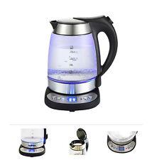 Grafner Glas Edelstahl LED Wasserkocher Temperaturwahl 2200 Watt
