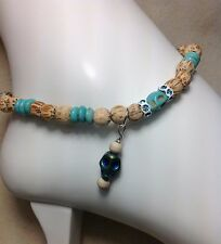 Bracelet/Anklet W/Swarovski Elements Usa Handmade Turquoise Gemstone Skull Ankle