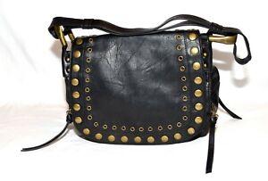 Steve Madden Black Faux Leather with Brass Studs Shoulder Saddlebag Purse