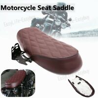Universal Motorcycle Cafe Racer Hump Saddle Brown For Honda Yamaha Suzuki EZ