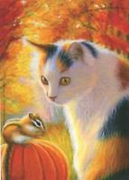 ACEO GORGEOUS CALICO CAT CHIPMUNK PUMPKIN AUTUMN SEASON FOLIAGE TREES ART PRINT