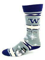 Washington Huskies For Bare Feet Gray Holiday Snowman Crew Socks