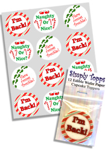 Cupcake Toppers Elf is Back Christmas Precut Edible Paper Decoration 40mm shelf