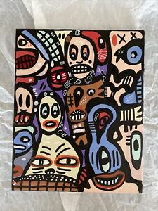 Hasworld ORIGINAL 8x10 PAINTING  Abstract EXPRESSIONISM Doodle  Contemporary Art