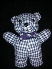"Baby Gap 7"" Teddy Bear Rattle Plush Blue White Plaid Checkered Toy"