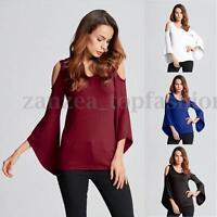 ZANZEA Women Long Bell Sleeve Loose Off Shoulder Tank Tops Blouse Casual T-Shirt