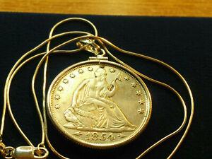 US MINTED RARE 1854 O Seated Liberty Silver Half Dollar Pendant ITALIAN Chain 🎇