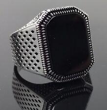 925k Solid Sterling Silver Black Onyx Men's Ring -US Seller- P3E