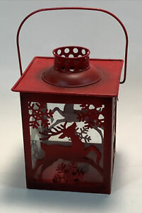 Holiday Christmas Glass & Metal Lantern Candle Holder W/Reindeer Cut Out Design