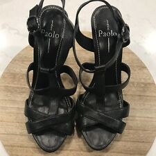 6ab3778f4 Linea Paolo All Black Leather Strappy Sandals Heels Size US 9W
