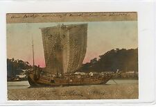 "Hong Kong China 1904 ""Chinese Junk Boat on Canal""  Post Card W/ Stamp"