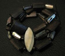 Great elasticated beaded bracelet with brown stone beads in 3 strands