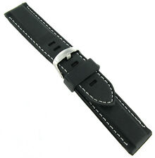 bfae077cea1 22mm Trendy Black White Stitched Rubber Silicone Waterproof Watch Band Strap  V4