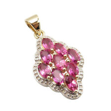 SOLID GOLD 14K Natural Oval Pink Tourmaline Pendant 3.66 gm Women's Day Discount