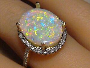 3.75 ct.  Opal & Diamond  Ring 14 k Yellow Gold  Brilliant stone