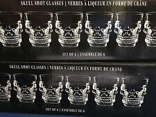 Nib Set of 12 Skull Shot Glasses - Halloween Skeleton Bones