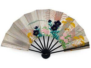 Vintage Japanese Geisha Odori 'Maiogi' FoldingDanceFan Silver Floral: Aug21-A