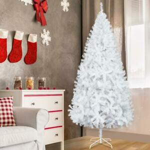 Slim Pencil 7Ft PVC Artificial Christmas Tree w/ Stand Home Holiday Decor WHITE