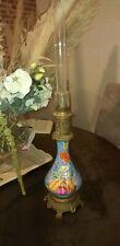 GRANDE LAMPE A PÉTROLE/ HUILE bronze et porcelaine