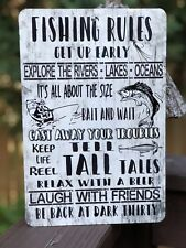 Fishing Rules - Sports Metal Sign -Fishing Sign -  12x8 Sign - Cabin Decor