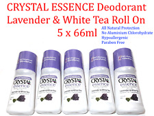 5 X 66ml Crystal Essence Deodorant Lavender & White Tea Roll on