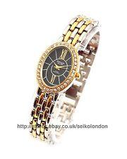 Omax Ladies Diamonte Black Dial Watch, 2-Tone Finish, Seiko Movt. RRP £69.99