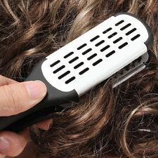 New Women Hairdressing Straightener Ceramic Hair Double Brush Comb Clamp