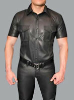 Men's Real Cowhide Leather Police Uniform Shirt Short Sleeve BLUF Shirt