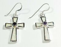 "925 STERLING SILVER SIGNED PURPLE AMETHYST & OPAL 1 1/2"" X 5/8"" CROSS EARRINGS"