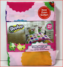 Shopkins Characters Sheet Set - Dots Stripes Cart -  Pink & White - TWIN ❤️NEW❤️