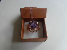 Vintage Soviet Solid Rose Gold Ring 14K 583 Alexandrite Size 8.5 Russian USSR