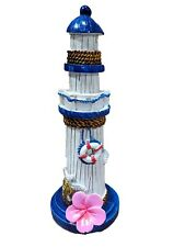 Poly Resin Nautical Lighthouse Figurine With Turtle and Pink Flower 6 Inches