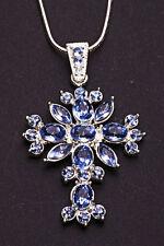 Deslumbrante azul claro y Metal Plateado Cruz Colgante Collar De Gema Floral (ZX28)