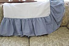 "LAURA ASHLEY Blue & White Gingham Check Twin Bed Skirt Split Corner & 13"" Drop"