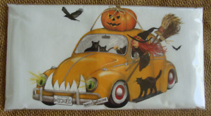 Mary Lake Thompson Halloween Flour Sack Towel - Witch in Beetle Bug Car, Cats