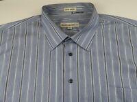 Pronto Uomo Mens Non Iron LS Button Down Light Blue Striped Dress Shirt 3XLT